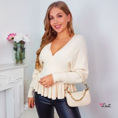 Pull cache-coeur maille beige