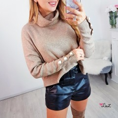 Pull col cheminé boutons nacrés manches taupe