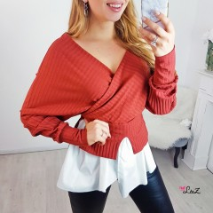 Pull cache-coeur & chemise rouille