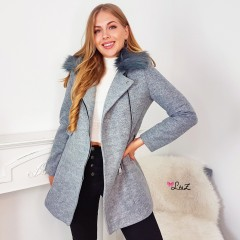 Manteau col perfecto tirette gris
