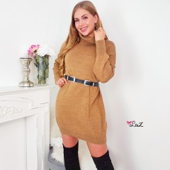 Robe-pull loose & col cheminé camel